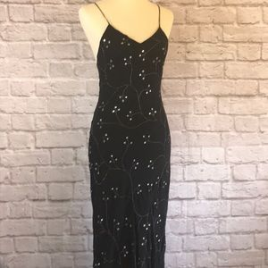 Cache Black silk bias embroidered gown, size 10